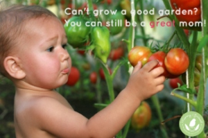 Small cute baby exploring ripe tomatos in greenhouse